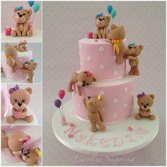 Teddy bears baby shower cake