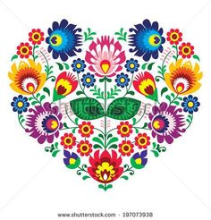 Polish folk art art heart embroidery with flowers - wzory lowickie #artesaniasmexicanasdiy