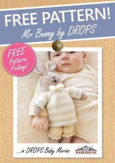 FREE PATTERN! How gorgeous is Mr Bunny by DROPS?! :) #freepattern #knitting #crochet #DROPS #WoolWarehouse