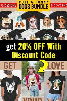 T Shirt Design Template, Cute Funny Dogs, 20 Off, Coupon Codes, Design Bundles, Funny Tshirts, Shirt Designs, Cricut, Photoshop