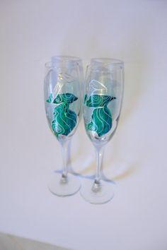 Hand decorated wedding glasses