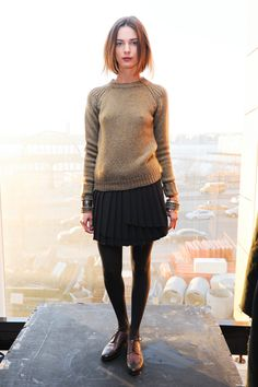 fw knit sweater + pleated skirt + brogues | Bodkin 2011
