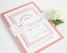 This unique modern wedding invitation features a circular logo and belly band, accented by a clean sans serif type and a funky script font.