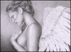 I've been working a lot on this drawing. The pose it based on a photo of a model (Heidi Klum)[link] I closed her eyes and mouth to fit the sad emotion I. Sadness of an angel Angels Among Us, Angels And Demons, Fallen Angels, Guardian Angels, Sad Angel, Winged Girl, Angel Drawing, I Believe In Angels, Angel Pictures