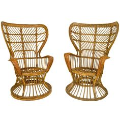 """Pair of Gio Ponti """"Conte Biancomo"""" Wicker Chairs   From a unique collection of antique and modern wingback chairs at http://www.1stdibs.com/furniture/seating/wingback-chairs/"""