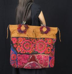 Bohemian Bag Vintage Tribal Fabric and Leather Bohemian Bag Vintage Tribal Textile