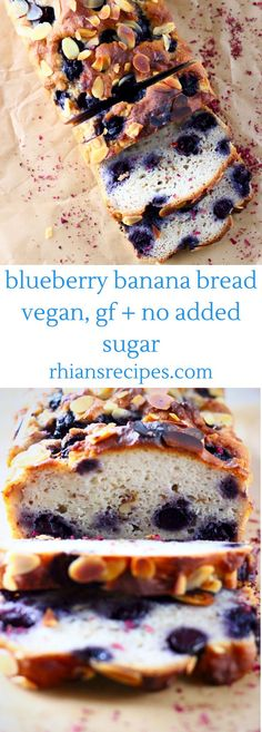 Gluten-Free Vegan Blueberry Banana Bread is seriously moist, sweet and fruity and free from added sugar!This Gluten-Free Vegan Blueberry Banana Bread is seriously moist, sweet and fruity and free from added sugar! Dairy Free Recipes, Vegan Gluten Free, Baking Recipes, Whole Food Recipes, Vegetarian Recipes, Healthy Recipes, Free From Recipes, Lunch Recipes, Paleo Ideas