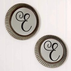 Black Letter E Farmhouse Monogram Decor Vinyl Decals - 2 Sets of Family Name Abbreviations and Polka Dots