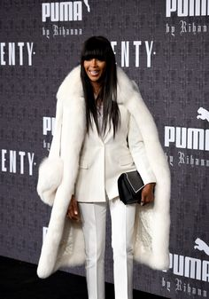 Naomi Campbell Wore Fur to Rihanna's Fashion Week Show-Wmag