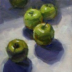 'Sunbathing' / 6x6 in / oil on canvas panel #apples #dailypaintings