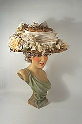 1908-1912 Edwardian Wide Brim Straw Hat