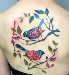Colorfal branches and birds tattoo - 110 Lovely Bird Tattoo Designs  <3 <3