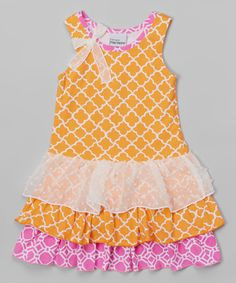 Loving this Vintage Trellis Tiered Ruffle Dress - Toddler & Girls on #zulily! #zulilyfinds