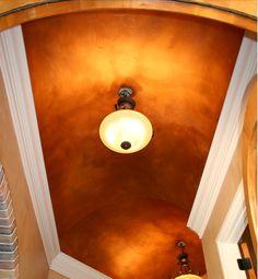 Foyer barrel ceiling Barrel Ceiling, Fashion Lighting, Ceiling Design, Ceilings, Foyer, Paint Colors, Wall Lights, Metallic, Shapes