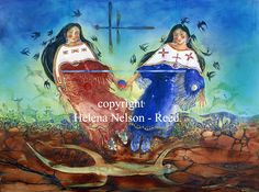 """Double Woman"" by Helena Nelson-Reed kK Dreams And Visions, Tribal Art, Survival Skills, Medium Art, Mother Earth, Mixed Media Art, Female Art, The Dreamers, Nativity"