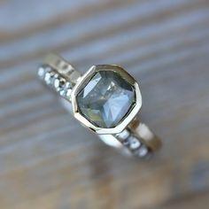 Rose Cut Fancy Gray  Diamond, Recycled 14k Gold Asscher Bezel Ring, Ready To Ship Size 7.5. $1,398.00, via Etsy.