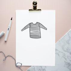 Stripes tee watercolour print