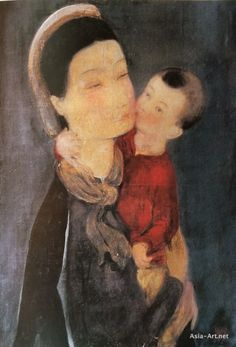 Silk Painting, Mother and Child (1940), by famous Vietnamese artist: Le Pho