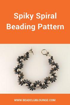 Right Angle Weave Patterns - Beaded Bracelet Patterns - Beading Tutorials and Patterns - Beadweaving Tutorial - Spiky Spiral Bracelet Beaded Bracelet Patterns, Beading Patterns, Embroidery Bracelets, Embroidery Patterns, Loom Patterns, Bracelet Designs, Knitting Patterns, Crochet Patterns, Bracelet Making