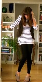 Super cute striped tunic, black vest, and black leggings.  Get the look with black leggings here.