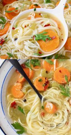 Tasty Vegetarian Recipes, Easy Healthy Recipes, Veggie Recipes, Mexican Food Recipes, Soup Recipes, Tasty Videos, Food Videos, Vegetable Noodle Soup, Vegan Noodle Soup