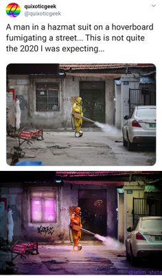A man ina hazmat suit on a hoverboard fumigating a street. This is not quite the 2020 I was expecting. Stupid Funny Memes, Funny Relatable Memes, The Funny, Hilarious, Relatable Posts, Funny Quotes, Hazmat Suit, Looks Cool, Tumblr Funny