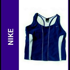 NIKE RACER BACK TOP NIKE ROYAL BLUE/WHITE RACER BACK TOP Designed for Comfortable upper body motion Ventilation side panels 92% Polyester / 8% Spandex Insets.  88% Polyester / 12% Spandex Size Large Nike Tops Muscle Tees
