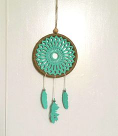 Attrape reves turquoise et argenté, fait main my little papeterie : Accessoires de maison par my-little-papeterie