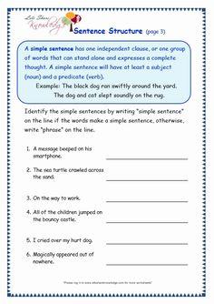 Sentence Structure Worksheets | Kindergarten! | Pinterest | Sentence ...