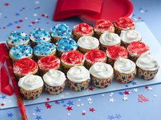 """Flag Cupcake Cake from bettycrocker.com - a """"no-brainer"""" idea, but a reminder of a last second idea to add some fun to a 4th of July picnic."""