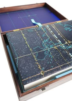 embroidered fine binding of Cloud Atlas, by David Mitchell, bound by Hannah Brown