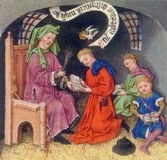 Getijdenboek van Katherina van Kleef, ca. 1440, Morgan Library & Museum New York. Een klaslokaal. Alleen de meester heeft een stoel en houdt een zweepje klaar om bij een vergissing van de leerling te kunnen corrigeren. De jongen vooraan wijst de tekst aan terwijl hij leest.