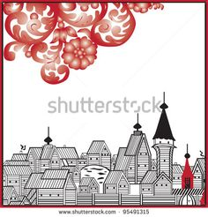 Russian old-style pattern on a white background - stock vector