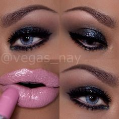 Holiday Party eyes with Cupcake Pink lips  #vegas_nay  .