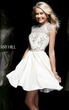 """2014 Beaded Cap-Sleeves Ivory Tulle Sherri Hill 4300 Short Party Dress Dress length: 17"""" (Waist to hem) Shown in: Ivory Look amazingly beautiful with Sherri Hill 4300. This elegant cocktail dress features a fitted bodice with a sheer high round neckline,"""