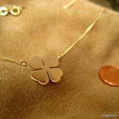 Halskette mit Kleeblatt Anhänger in 585er Gelbgold, Glück Klee, Glücksklee Kette
