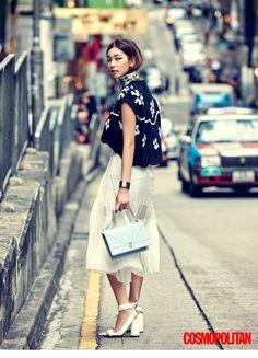 [skirt: plain cotton, /length] [jacket: H statement piece] /adjust