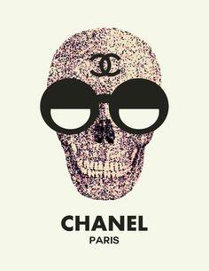 art, chanel, coco chanel, crossbones, fashion, glasses, glittery, high end, pink, pretty, skeletons, skulls, style