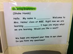 Classroom greeter prompt posted inside the classroom door. The Leader in Me and the Seven Habits.