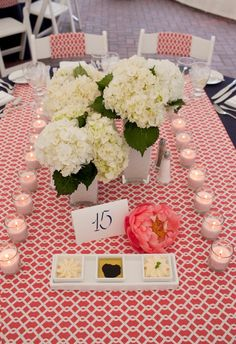 Kate Parker Weddings Custom coral fabric table runner      I NEED this table runner!
