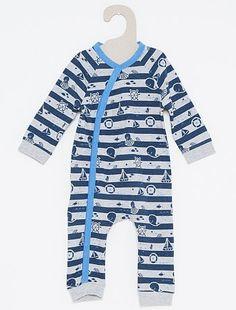 Pijama con estampado marinero sin pies                                                                                         a rayas azul/gris Bebé niño