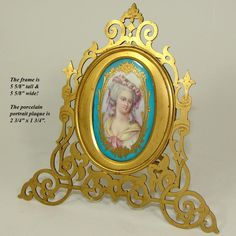 Gorgeous Antique Sevres Porcelain Portrait Plaque in Pierced Bronze from antiques-uncommon-treasure on Ruby Lane