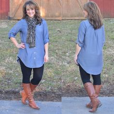 Fashion Friday! Styling the Blue Dreams Button Up Tunic from Glamour Farms.