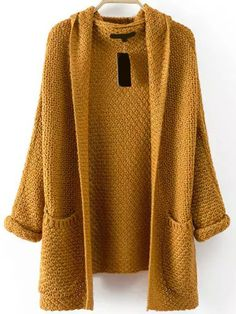 SheIn offers Pockets Chunky Knit Khaki Coat & more to fit your fashionable needs. Cocoon Cardigan, Chunky Knit Cardigan, Hooded Cardigan, Chunky Knits, Brown Cardigan, Khaki Coat, Camel Coat, Long Brown Coat, Long Hooded Coat