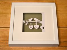 This love birds framed papercut is made up as a completely personalised design.  This original papercut would make a lovely gift for a wedding, engagement or anniversary. Don't forget that the 1st wedding anniversary is paper!  This beautiful keepsake piece is designed, cut and framed by me. It can be cut from any colour card, just ask! price:£35