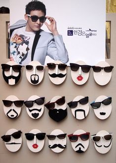 sunglasses display Snazzy Sunglasses - Its easy to look as cool as member Nickhyun and these cute sunglasses folks when you shop at Look Optical in Myeongdong. The latest trends in eyewear from reading glasses to sunglasses can be purchased here. Visual Display, Display Design, Store Design, Glasses Shop, Kids Glasses, Glasses Online, Eyewear Shop, Cute Sunglasses, Sunnies