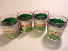 """Vintage Set of (4)  Audrey Tulip by """"ST. TROPEZ"""" Thermaware Insulated Tumblers"""