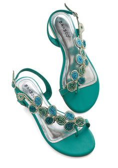 Bead of a Different Drummer Sandal in Sea Green. Your eclectic style is revered by all who know you - and these rich green strappy sandals fit perfectly into your unique wardrobe! #mintNaN