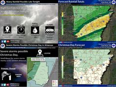 says For The Little Rock Metro & Central Arkansas: Now Thru Thursday: Cloudy With Scattered To Numerous Showers & T'Storms. One Or Two Possibly Strong To Severe Sun Afternoon & Evening. Hi Fri 51 & Lo 50 With Rising Temperatures. Hi Sat 61. Lo Christmas Eve 55. Hi Christmas Day 70 & Lo 60. Hi Mon 64 & Lo 42. Hi Tue 52 & Lo 38. Hi Wed 58 & Lo 46. Hi 56. - Updates: http://www.weather4ar.org/ - DCP2