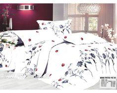 Lenjerie de pat bumbac satinat Casa New Fashion alba cu flori bleumarin Comforters, Satin, Blanket, Bed, Furniture, Home Decor, Homemade Home Decor, Stream Bed, Elastic Satin